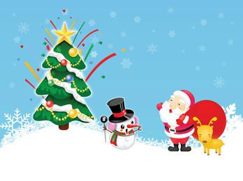 Divertido estilo navidad santa claus y muñeco de nieve