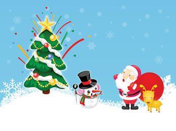 Engraçado estilo Natal Papai Noel e boneco de neve