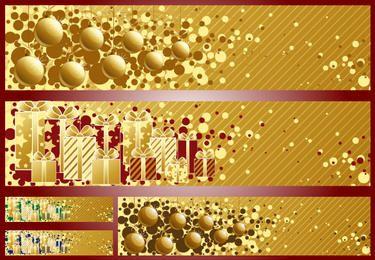 3 Banners de Navidad con rayas doradas