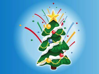 Árbol de navidad decorado de dibujos animados