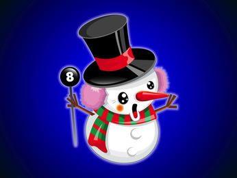 Dibujos animados lindo muñeco de nieve feliz