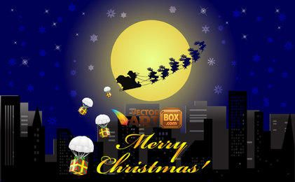 Christmas City Night with Flying Sleigh