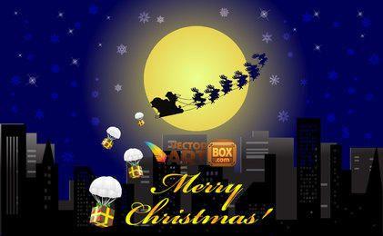 Natal cidade noite com trenó voador