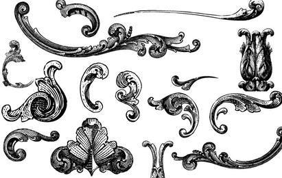 Freie Vektoren: Gravierte Ornamente