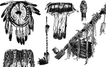 Vectores de objetos nativos americanos