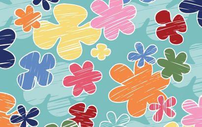 Patrón de vector de crayón de flores para niños - Gratis