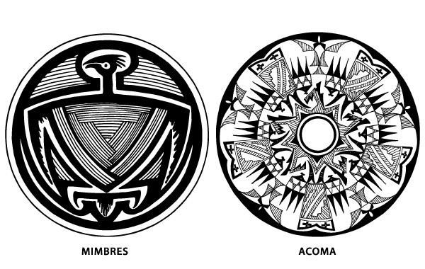 Pareja de vectores de diseño de cerámica del nativo americano del suroeste