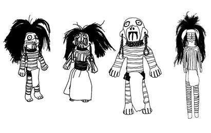 Bonecas da estatueta do nativo americano do sudoeste - vetores do projeto