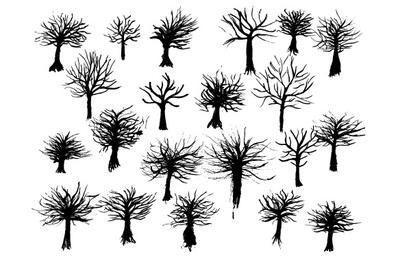 Vectores gratis: árboles de tinta