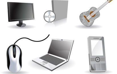 Set of six tech icons