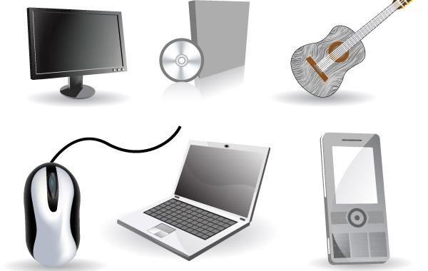 Conjunto de seis ícones de tecnologia