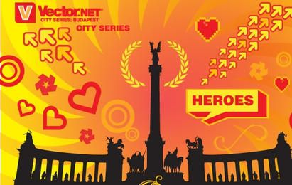 Budapest-Helden-Quadrat-Vektor