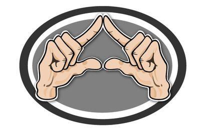 Handgeste Dreieck geformt