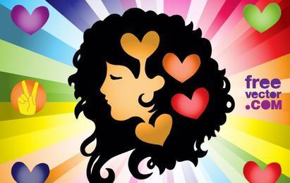 Amor menina colorido