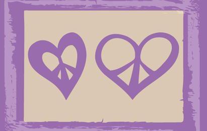Corações esboçados em paz