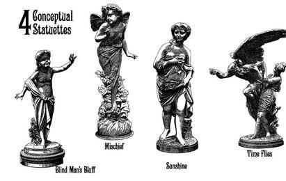 4 alte Statuetten-Vektoren, die 4 Konzepte zeigen