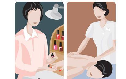 ilustrações de manicure e massagem