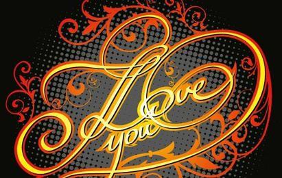 Grunge I Love You titles with floral motives