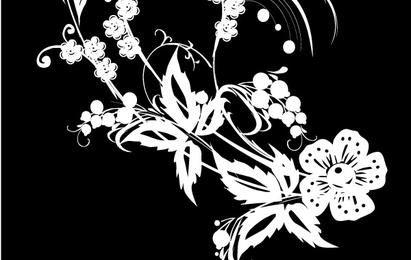 Decoração de flores em preto e branco