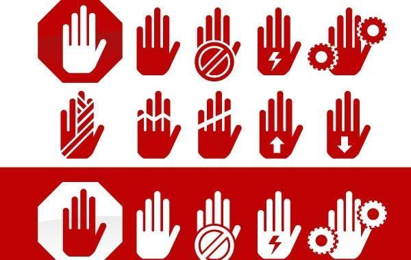 Hand Hazard Symbols Vector Download