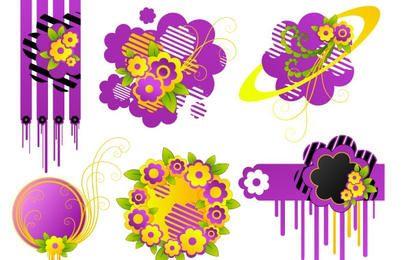 Elementos florais fofos
