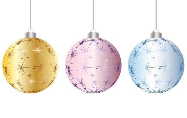 Bolas De Navidad Rojas Sobre Fondo Verde: Descargar Vector