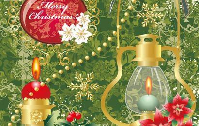 Floral merry christmas with oil lamp