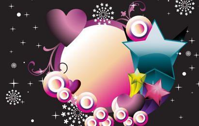Banner de círculo con estrellas y corazones