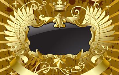 Goldschwarzes Banner mit Flügeln