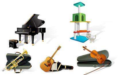 Instrumento de música, comida para perros, la oficina