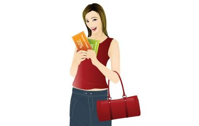 Girl shopping with coupon discount