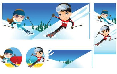 Snow boarding vector 10
