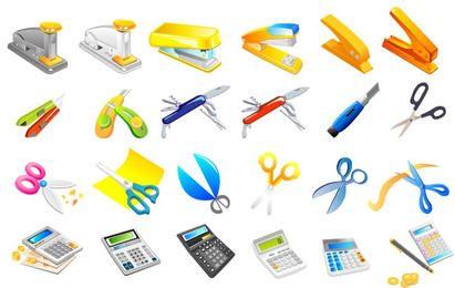 Grapadora, navaja, tijeras, calculadora, bolígrafos.