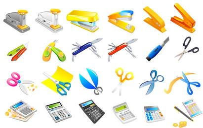 Stapler, utility knife, scissors, calculator, pens