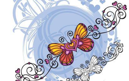 Mariposa en forma de corazón vector