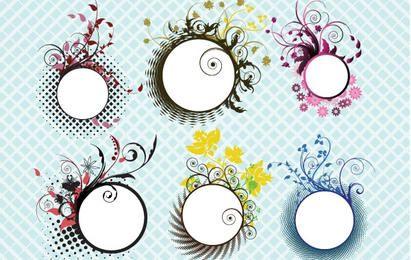 Circular Floral Frames Set