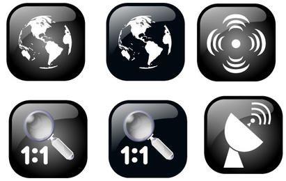 Conjunto de iconos de geolocalización del mapa de Ben
