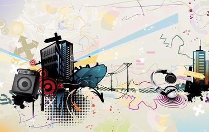 A tendência do material de vetor de ilustração de música 3