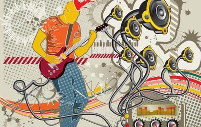 Vector tema musical da tendência do material