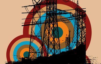 Vetor livre de torre elétrica retrô