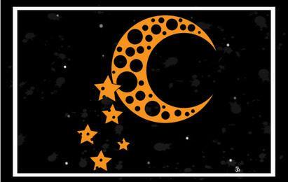 Luna y estrellas de fondo vector