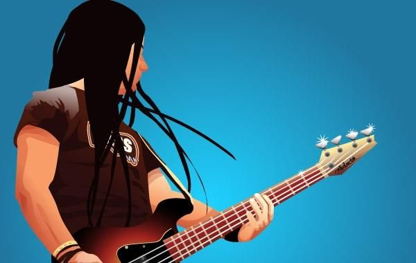 Bass player Vector Graphic