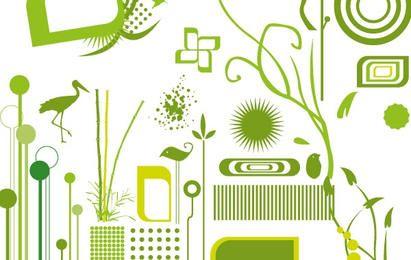 Grüne Objekte packen