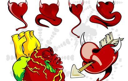 Conjunto de corações maus