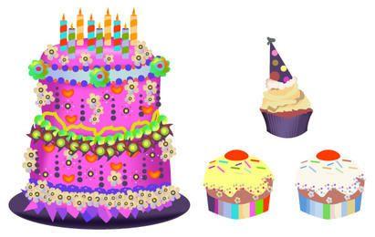 Conjunto de Cupcakes de bolo de aniversário