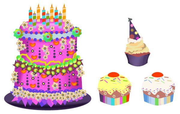 Birthday Cake Cupcakes Set