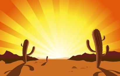 CACTUS IN DESERT SUNRISE