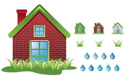 Ecology House Set Vector
