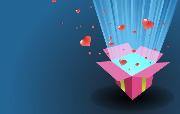 Amor presente cartão vector