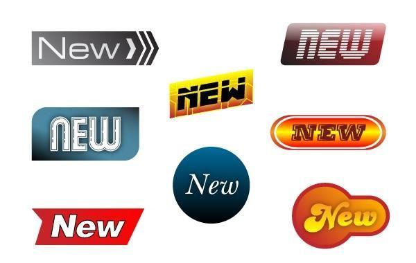 Novos emblemas adesivos - elemento da Web
